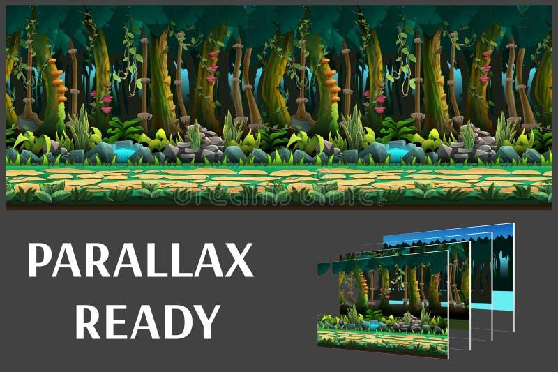 El paisaje inconsútil de la selva de la historieta, vector el fondo interminable con capas separadas libre illustration