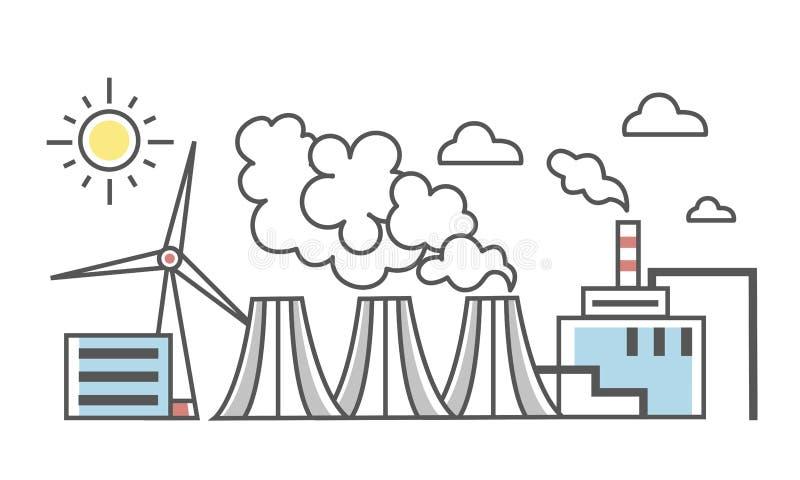 El paisaje industrial Diversos tipos de centrales eléctricas Central eléctrica y central eléctrica de energía eólica Línea fina v ilustración del vector