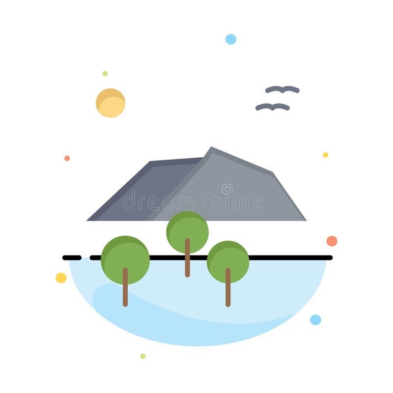 El paisaje, montaña, árbol, pájaros resume la plantilla plana del icono del color libre illustration