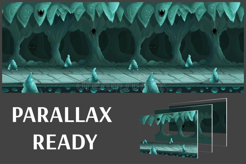 El paisaje subterráneo de la historieta inconsútil, vector el fondo interminable con capas separadas stock de ilustración
