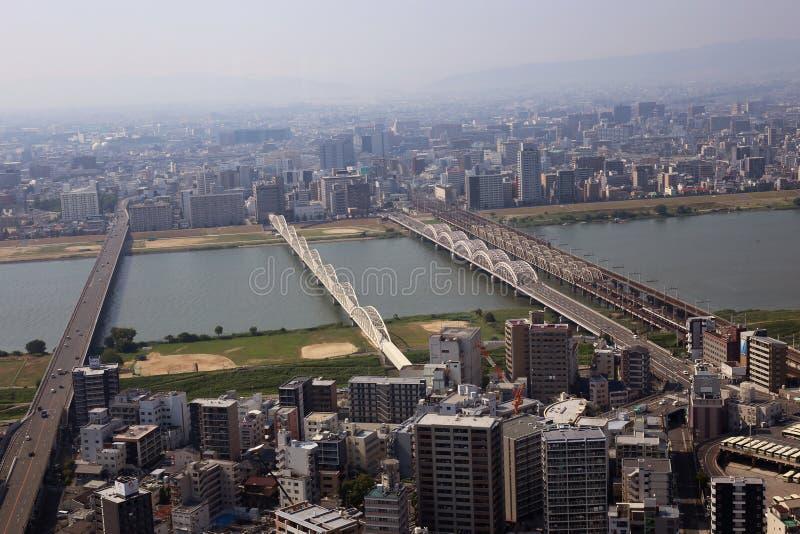 El paisaje urbano de Osaka, Japón imagen de archivo