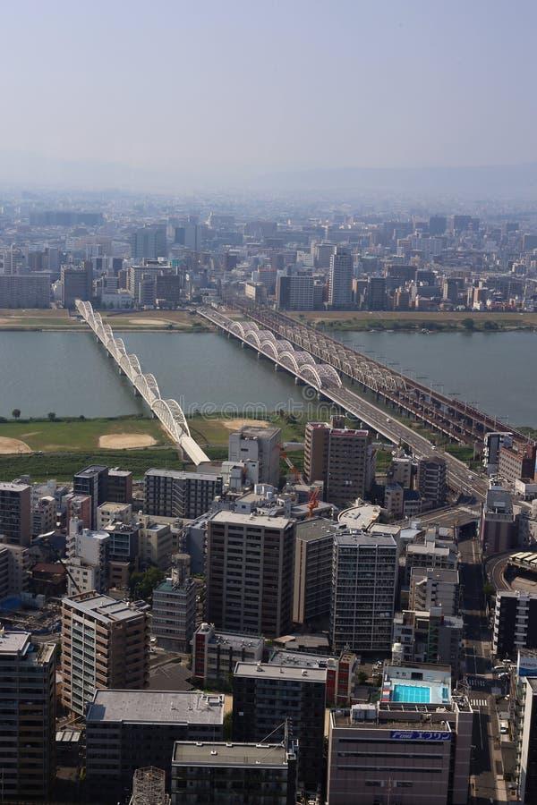 El paisaje urbano de Osaka, Japón fotos de archivo libres de regalías