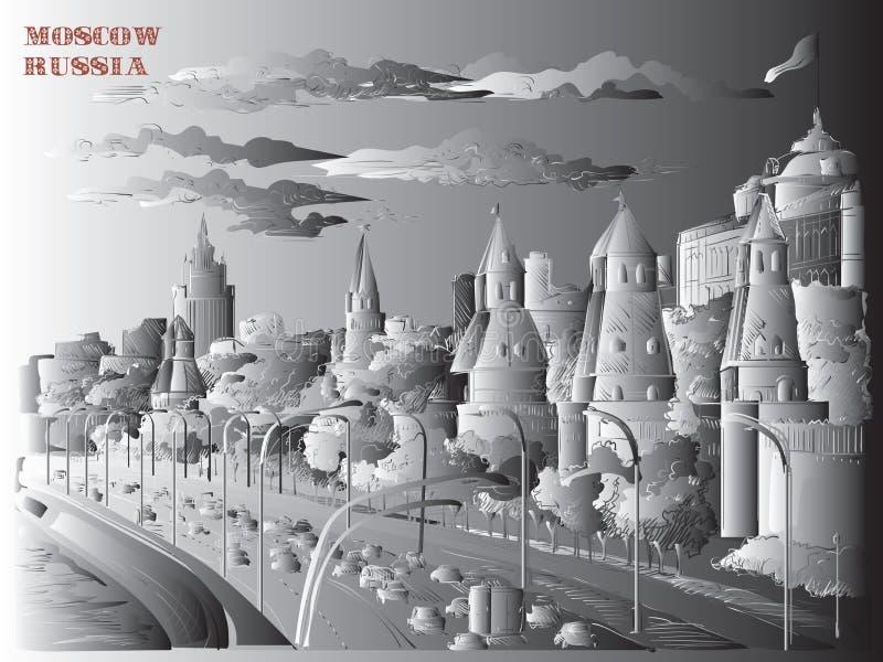 El paisaje urbano del terraplén de la Plaza Roja de las torres del Kremlin y del río de Moscú, Moscú, Rusia aisló el ejemplo del  ilustración del vector