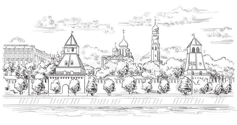 El paisaje urbano del terraplén de la Plaza Roja de las torres del Kremlin y del río de Moscú, Moscú, Rusia aisló el ejemplo del  stock de ilustración