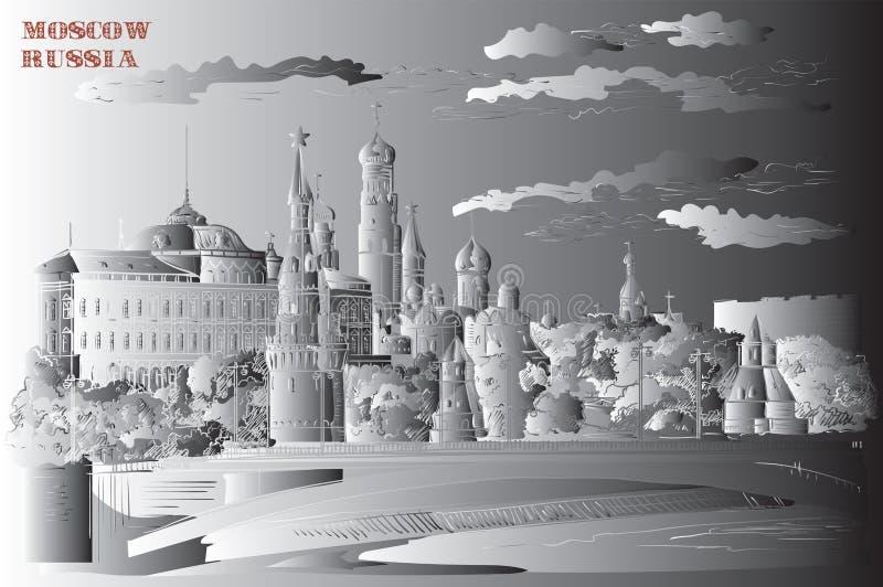 El paisaje urbano del terraplén de las torres y del puente del Kremlin a través de la Plaza Roja del río de Moscú, Moscú, Rusia a libre illustration