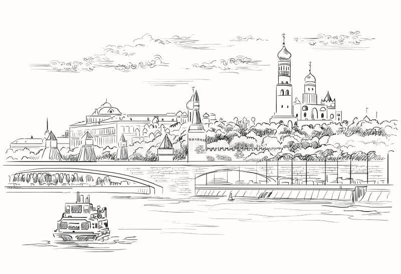 El paisaje urbano del terraplén de las torres y del puente del Kremlin a través de la Plaza Roja del río de Moscú, Moscú, Rusia a stock de ilustración
