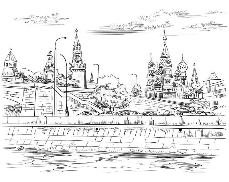 El paisaje urbano del terraplén de las torres y del puente del Kremlin a través de la Plaza Roja del río de Moscú, Moscú, Rusia a ilustración del vector