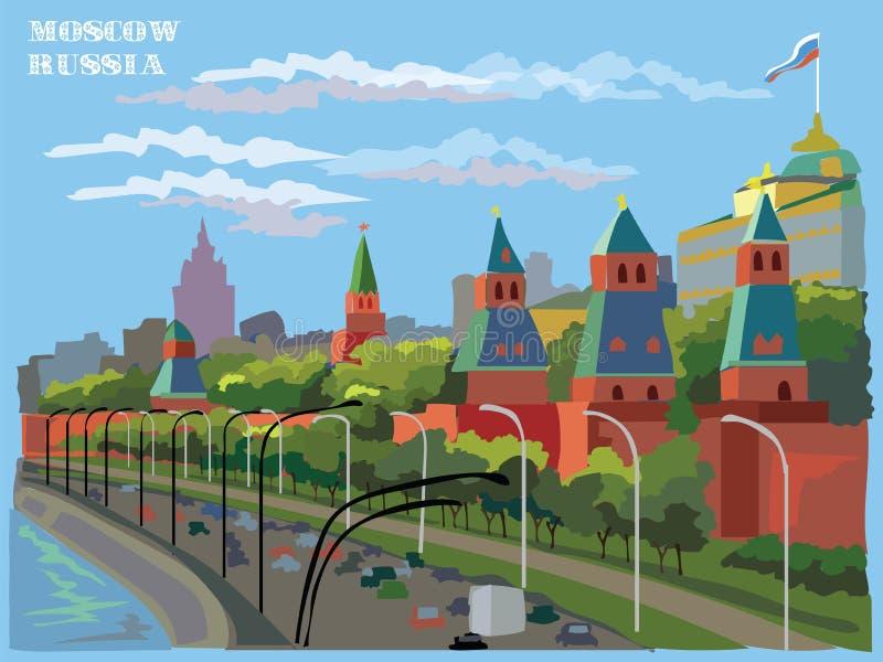 El paisaje urbano del terraplén del Kremlin se eleva Plaza Roja de la señal internacional, Moscú, Rusia Ilustración colorida del  stock de ilustración