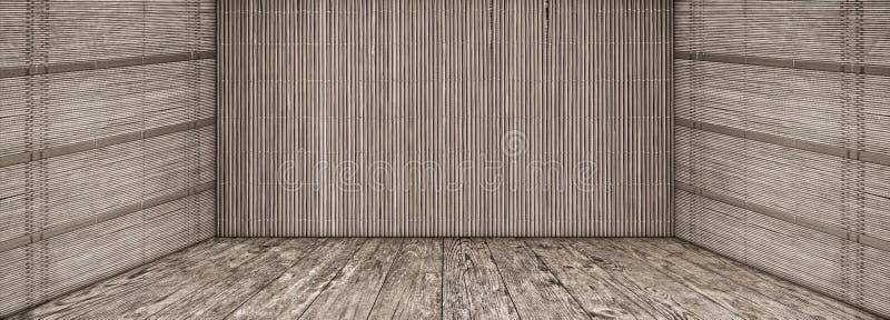 El paisaje vacío de alta resolución del grunge con las paredes de bambú de la estera y la madera de pino anudada vieja planked la imágenes de archivo libres de regalías