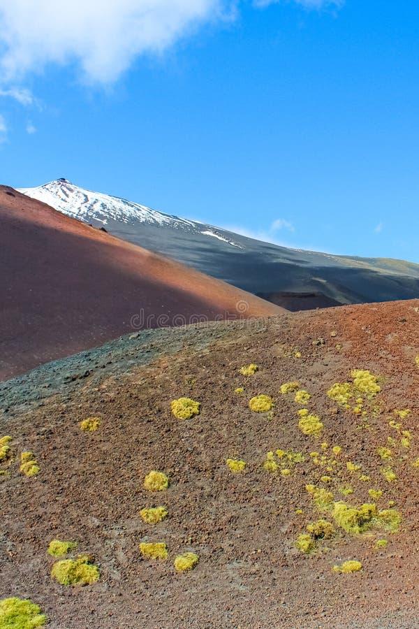 El paisaje volcánico que sorprendía de los cráteres de Silvestri en el monte Etna, Sicilia, Italia capturó en una fotografía vert fotos de archivo libres de regalías