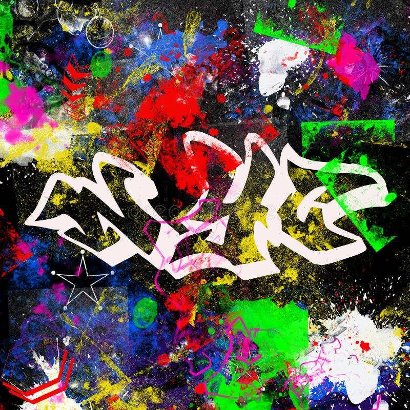 El paitn multicolor del estilo de la pintada de New York City del diseño del Grunge cepilla el fondo urbano del artista de la cal stock de ilustración