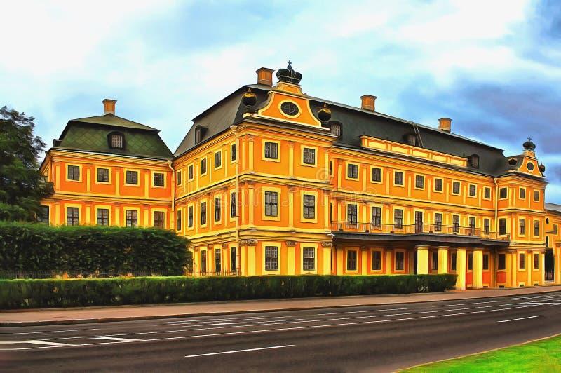 El palacio antiguo de Menshikov en St Petersburg stock de ilustración
