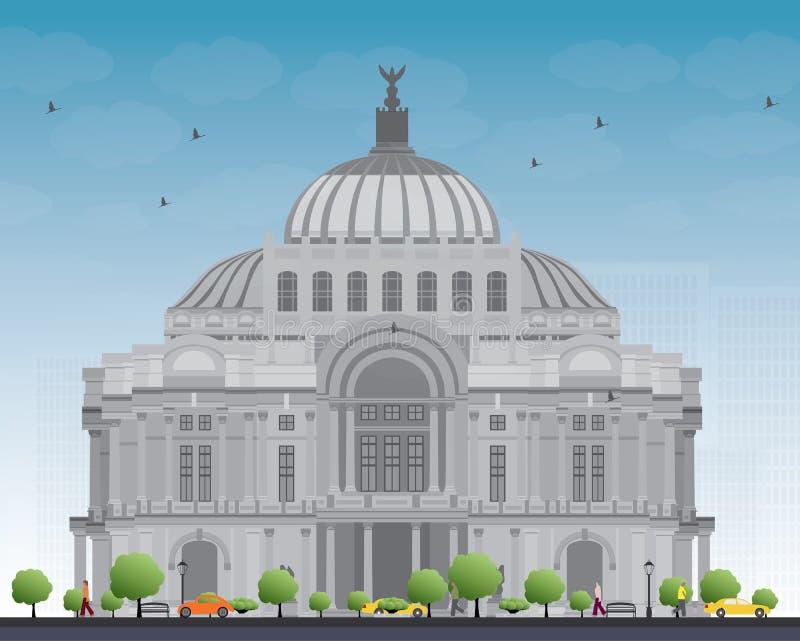 El palacio de las bellas arte/el Palacio de Bellas Artes en Ciudad de México stock de ilustración