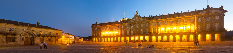 El palacio de Rajoy (Palacio de Rajoy) por la tarde fotografía de archivo