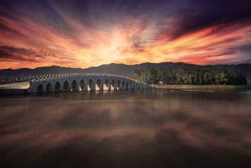 El palacio de verano en el tiempo de la puesta del sol imagen de archivo