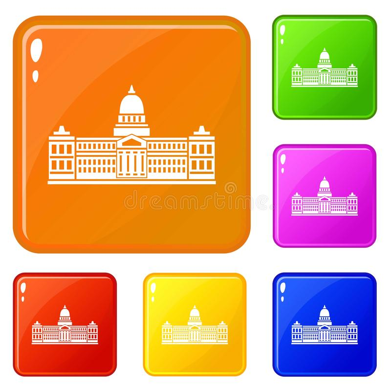 El palacio del congreso, iconos de la Argentina fijó color del vector ilustración del vector