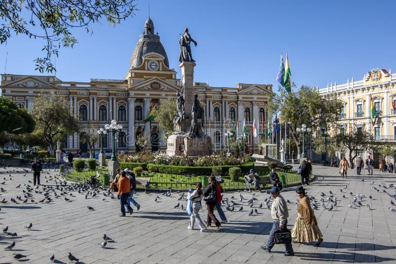 El palacio legislativo hermoso en la plaza Murillo en La Paz en Bolivia imagenes de archivo