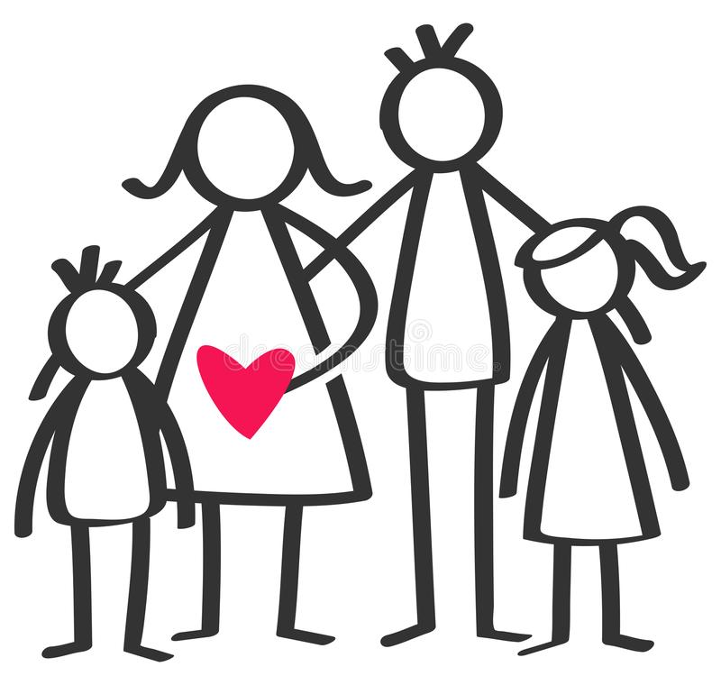 El palillo simple figura a la familia feliz, madre, padre, hijo, hija, niños, corazón rojo aislado en el fondo blanco ilustración del vector