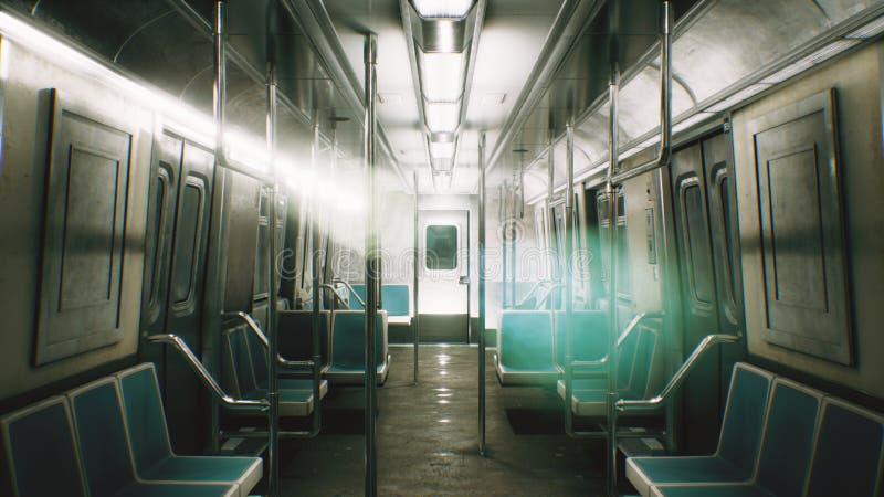 El palmo de la cámara a través del tren sin fin místico representación 3d stock de ilustración