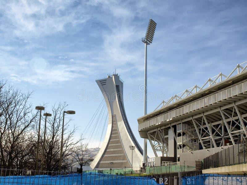 El palo del estadio Olímpico y el estadio de Saputo fotografía de archivo libre de regalías