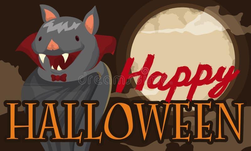 El palo lindo le gusta un señor en la noche de Halloween, ejemplo de la luna del vector stock de ilustración