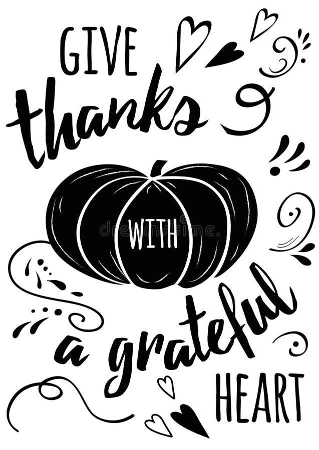 El pampkin negro dibujado mano del vector y el texto inspirado de la acción de gracias dan gracias con un corazón agradecido libre illustration