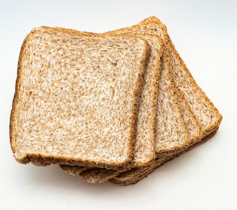 El pan cortado a tostar aisló en el fondo blanco Cierre para arriba Visión superior fotografía de archivo