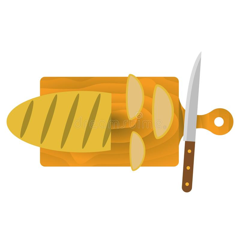 El pan en la tabla de cortar ilustración del vector