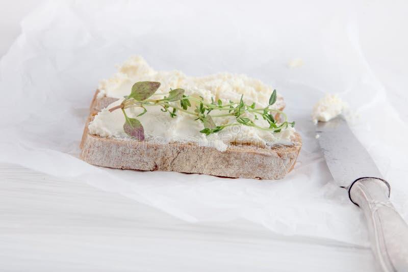 El pan recién preparado cortó con el queso cremoso en el Libro Blanco foto de archivo