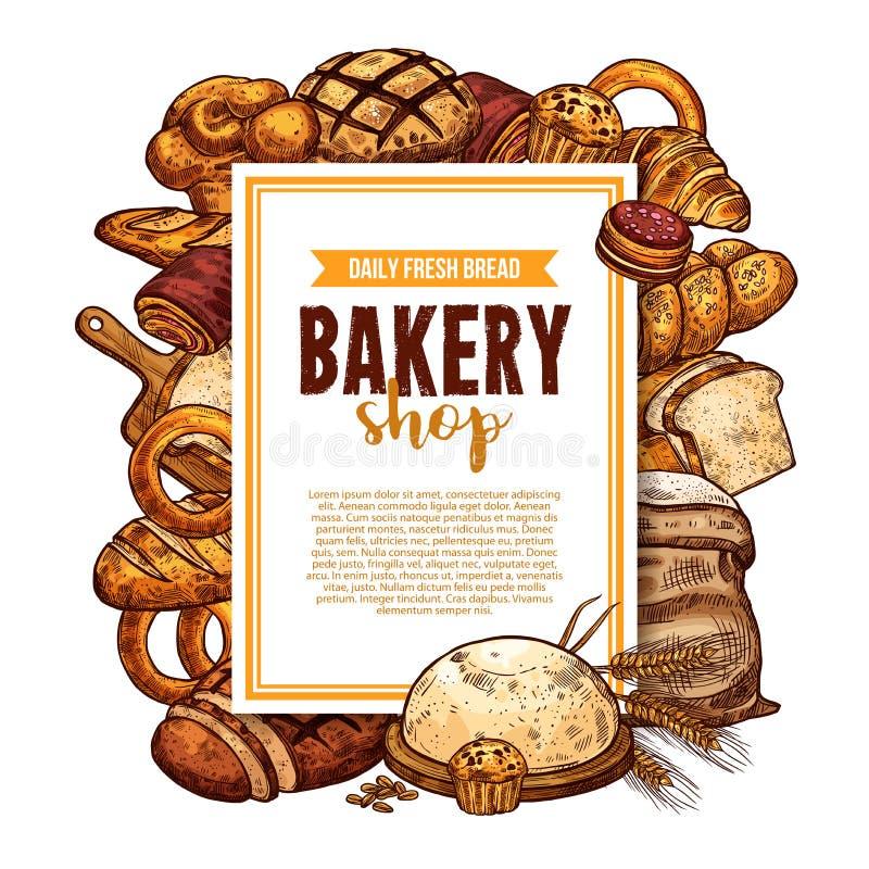El pan y los pasteles bosquejan el marco para la bandera de la panadería ilustración del vector