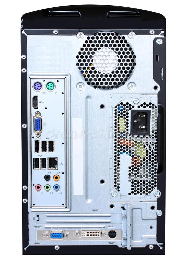 El panel de conector de la parte posterior de la CPU del ordenador que muestra puertos, la fuente de alimentación y la fan Aislad foto de archivo libre de regalías