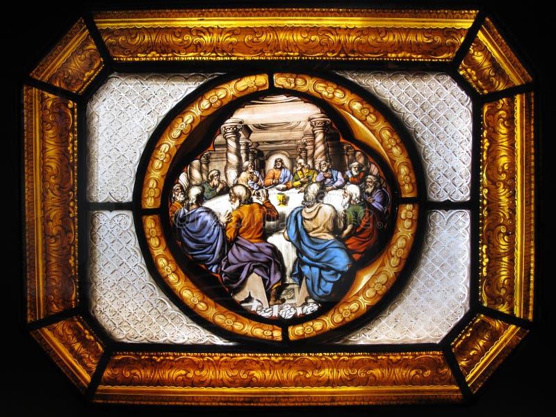 El panel de cristal manchado de la ventana de la cena pasada imagen de archivo libre de regalías