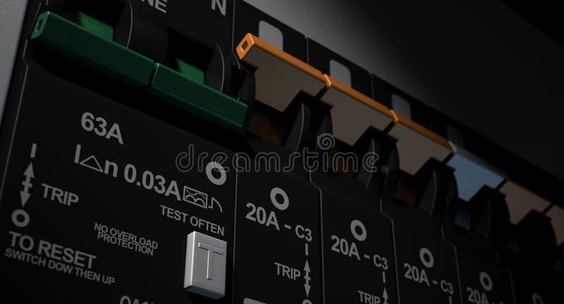 El panel de disyuntor eléctrico foto de archivo libre de regalías