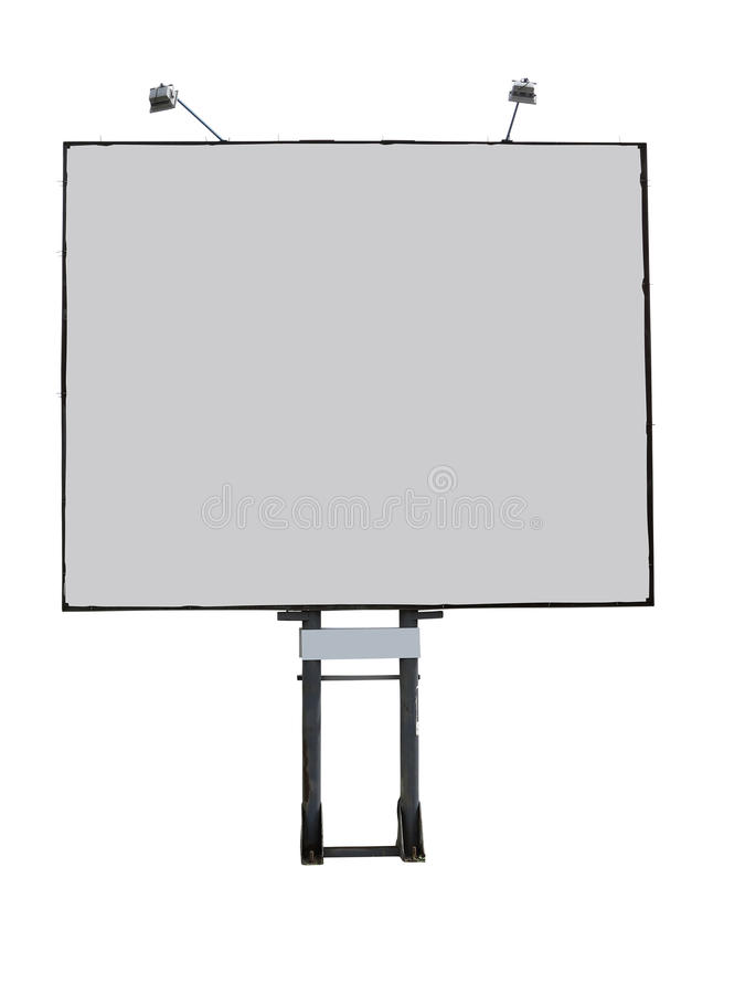 El panel de la publicidad de la cartelera con el espacio vacío y el proyector ligero foto de archivo