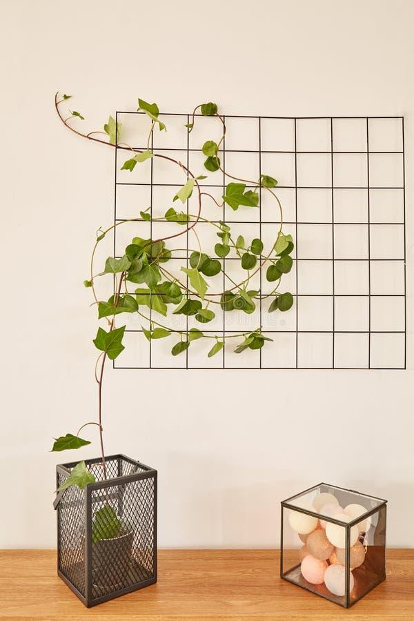 El panel de la rejilla del alambre con las bolas de algodón imagen de archivo libre de regalías