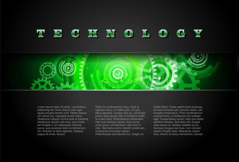 El panel de la tecnología del metal con vector de los engranajes que brilla intensamente stock de ilustración