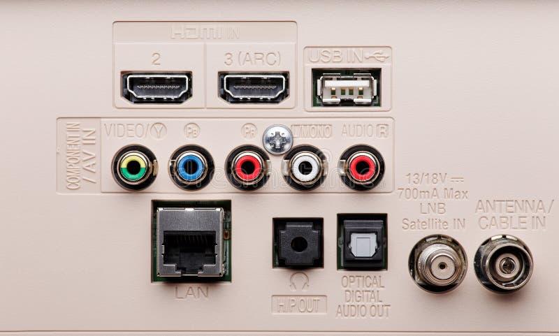 El panel de los conectores TV de entrada y de salida fotografía de archivo