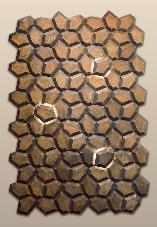 El panel de madera artístico con las lámparas de pared, diseño interior de moda del extracto foto de archivo
