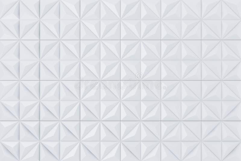 El panel de pared poligonal geométrico de las pirámides del extracto blanco divide el fondo en segmentos representación 3d stock de ilustración