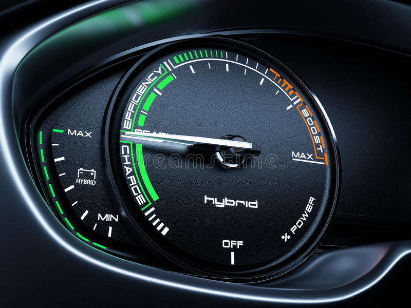 El panel del tacómetro del coche híbrido ilustración del vector