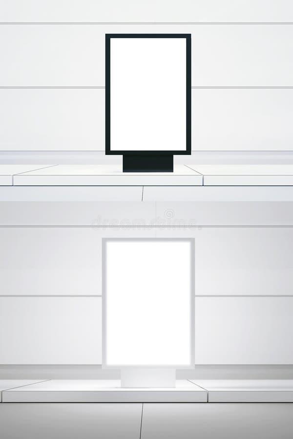 El panel digital blanco del doble de la imagen del concepto Calle vacía negra de la ciudad del lightbox de la lona Fondo blanco e ilustración del vector