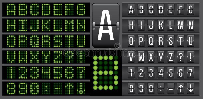 El panel electrónico del marcador pone letras a alfabeto ilustración del vector