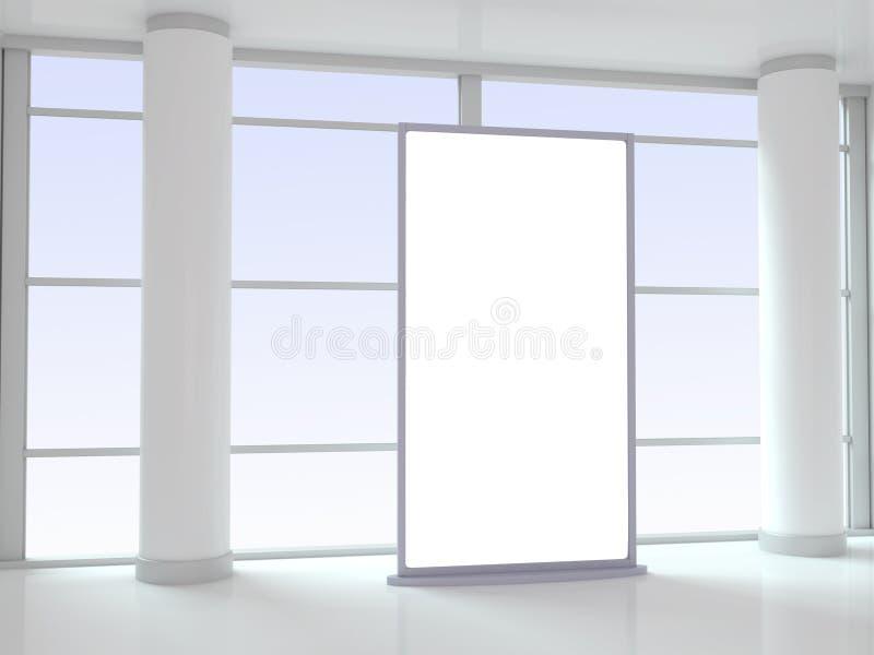 El panel en blanco de la publicidad en oficina stock de ilustración