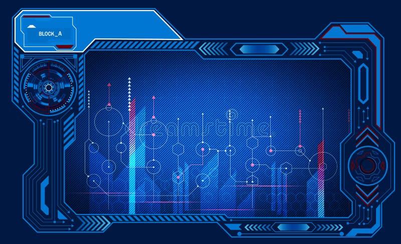 El panel gráfico dismétrico de la presentación del ordenador, monitor, marco, de control y visualización, tecnología del poder Il ilustración del vector
