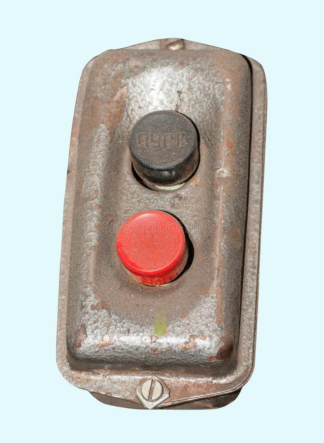 El panel industrial de los botones de encendido del aislamiento fotos de archivo