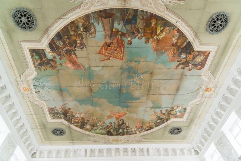 el panel revolucionario en techo en el ferrocarril en Stalingrad, Rusia imagen de archivo