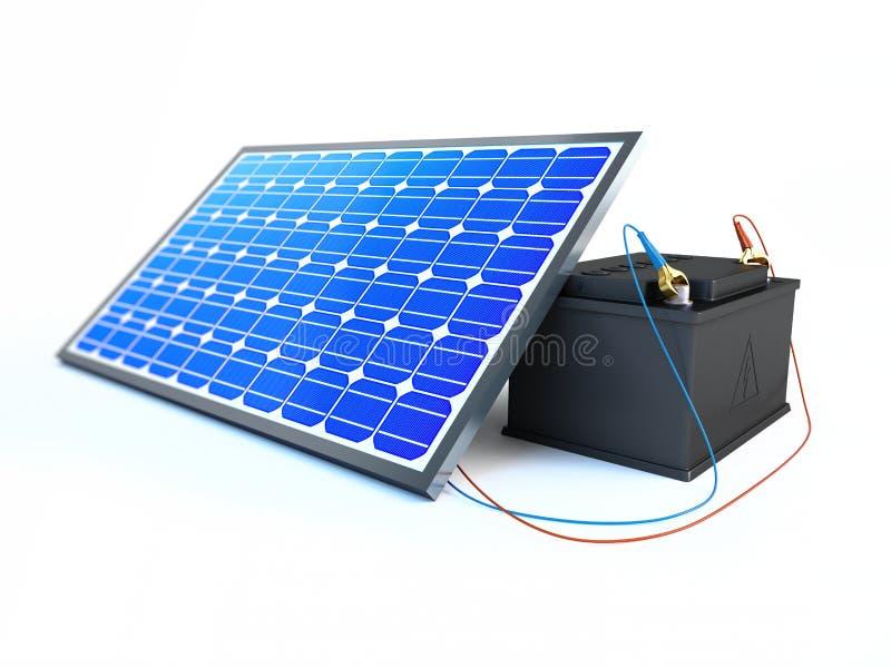 El panel solar carga la batería stock de ilustración