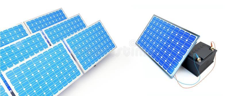El panel solar carga la batería ilustración del vector
