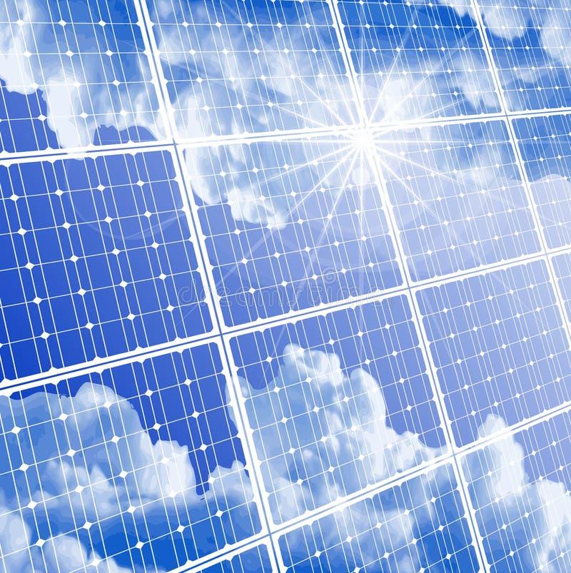 El panel solar, cielo claro y reflexión del sol ilustración del vector