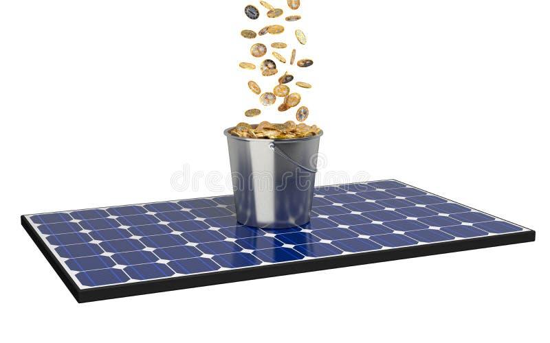 El panel solar con el cubo lleno de monedas stock de ilustración